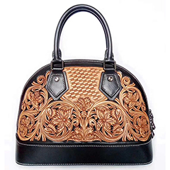 Dome Floral Engrave Leather Tote Bag LH2614B_3 Colors