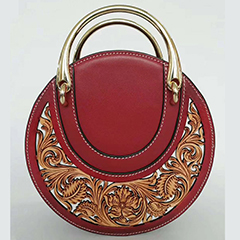 Circle Floral Engraving Pattern Leather Tote Bag LH2615B_2 Colors