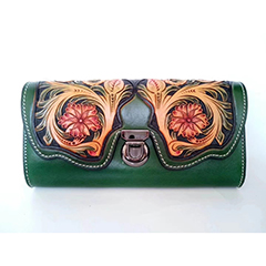 Tooled Leather Crafting Clutch Purse LH2616A_4 Colors