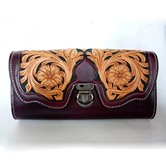 Tooled Leather Crafting Clutch Purse LH2616B_2 Colors