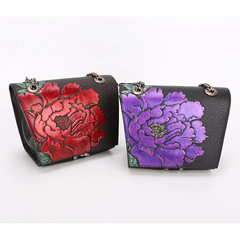 Floral Pattern Genuine Leather Crossbody Bag LH2633_2 Colors