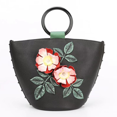 Flower Pattern Genuine Leather Purse for Ladies LH2625A_2 Colors