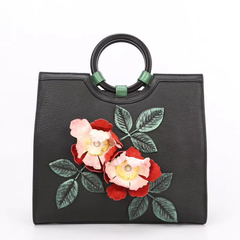 Flower Pattern Genuine Leather Bag LH2623A_2 Colors