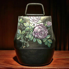 Floral Pattern Genuine Leather Tote Bag LH2644_2 Colors