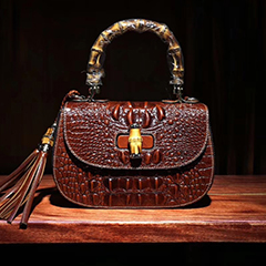 Tassels Crocodile Pattern Bamboo Handle Bag LH2017S_2 Colors