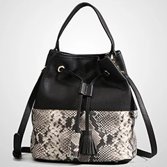 Drawstring Python Effect Leather Barrel Bag LH2653