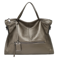 Bronze Zipper Leather Tote Satchel Bag LH2656