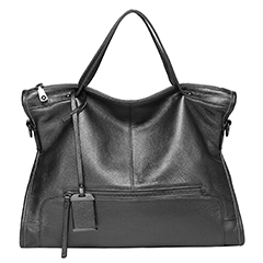 Black Zipper Leather Tote Satchel Bag LH2656