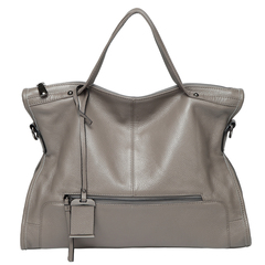 Grey Zipper Leather Tote Satchel Bag LH2656
