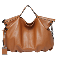 Brown Zipper Leather Tote Satchel Bag LH2658