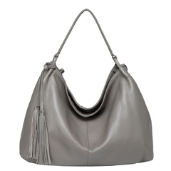 Grey Tassels Leather Hobo Bag LH2657