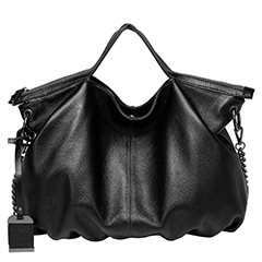 Black Zipper Leather Tote Satchel Bag LH2658
