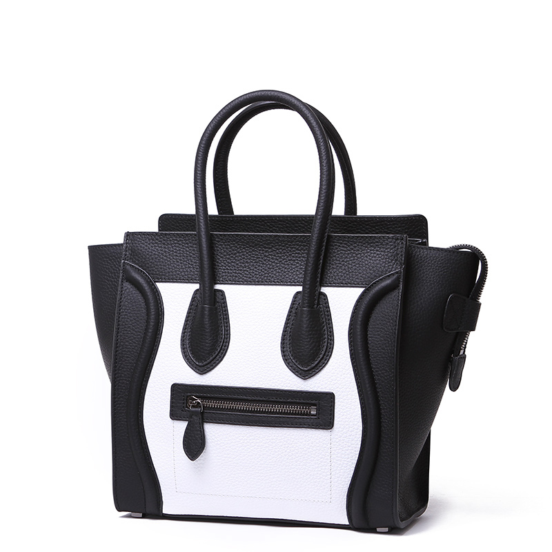 Black-White Large Genuine Italian Leather Luggage Bag LH2659