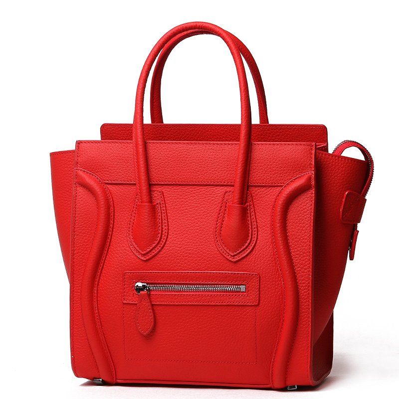 Red Large Genuine Italian Leather Luggage Bag LH2659