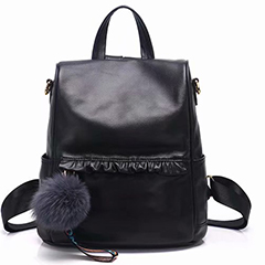 Ruching Real Leather Backpack LH2660_3 Colors
