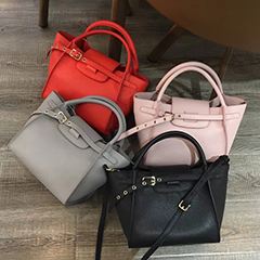 Top Belt Real Leather Tote LH2666_4 Colors