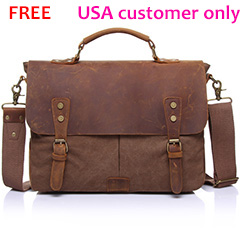 USA Customer Only Free Canvas & Leather Messenger Bag