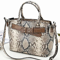 Top Belt Python Effect Real Leather Tote LH2686C_4 Colors