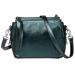 Metallic Dark Green Triple Zip Real Leather Crossbody Bag LH2690