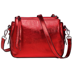 Metallic Red  Triple Zip Real Leather Crossbody Bag LH2690