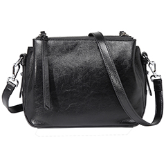 Black Triple Zip Real Leather Crossbody Bag LH2690