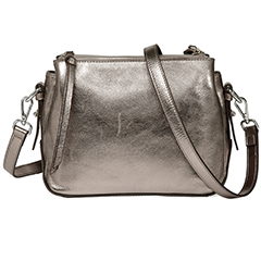 Silver Triple Zip Real Leather Crossbody Bag LH2690