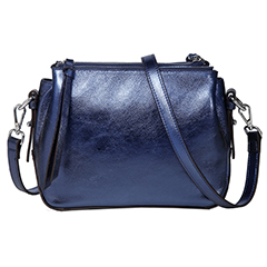 Metallic Blue Triple Zip Real Leather Crossbody Bag LH2690