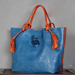 Tassels Color-blocked Real Leather Tote Bag LH2710_3 Colors
