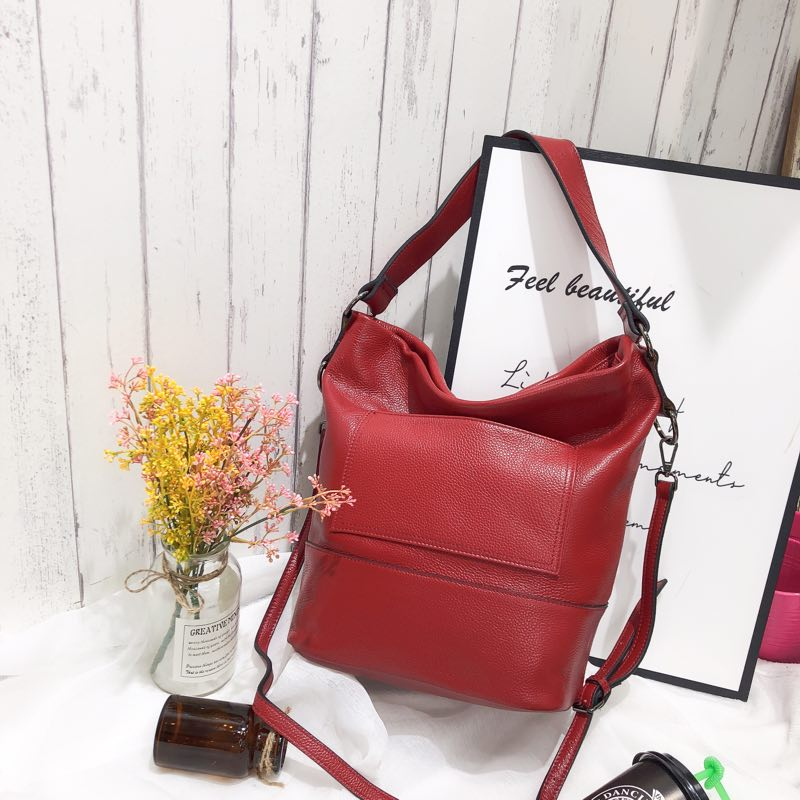 Soft Genuine leather Slouchy Shoulder Bag LH2713_6 Colors
