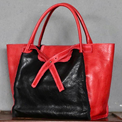 Color-blocked Real Leather Tote Bag LH2707_3 Colors