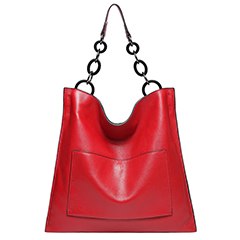 Red Cowhide Real Leather Slouchy Shoulder Purse LH2716