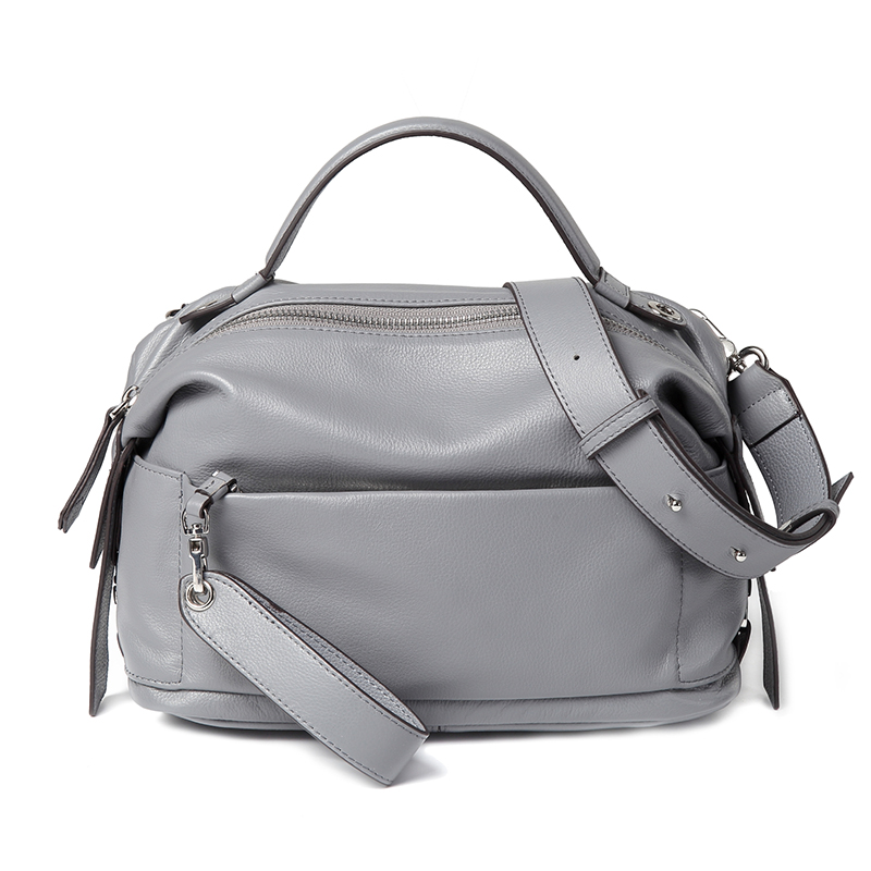 Grey Designer Top handle Real Leather Zipper Bag work Tote Satchel Purse LH2717