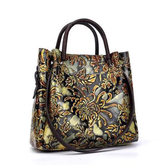 Floral Embossed Leather Floral Tote Purse LH2724_4 Colors