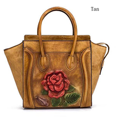 3D Flower Tote Top Handle Bag Leather Purse LH2726_4 Colors