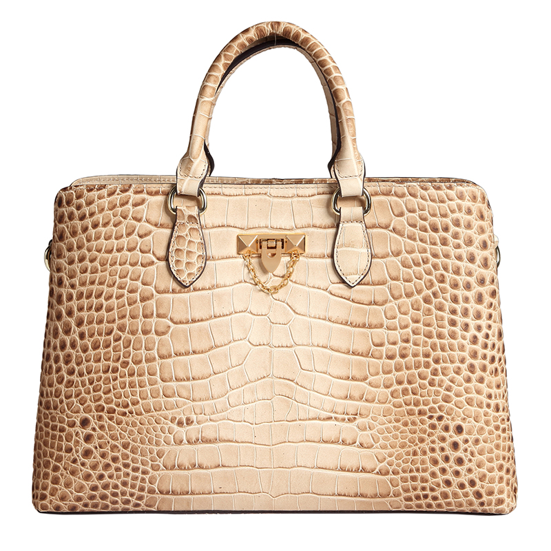 Beige Green Fabulous Crocodile Pattern Real Leather Tote Top Handle Bag LH2731