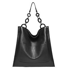 Black Cowhide Real Leather Slouchy Shoulder Purse LH2716