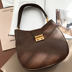Chocolate Supple Genuine Leather Hobo Bag for Women LH2722
