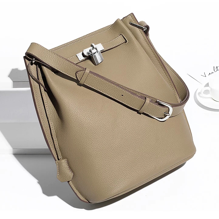 Belt Padlock Real Leather Barrel Shoulder Bag Cross Body Bag LH2744_6 Colors