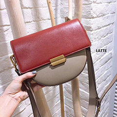 Contrast Color Calfskin Leather Saddle Bag LH2748_3 Colors