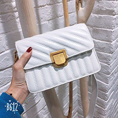 Flap Striped Leather Crossbody Bag LH2755_3 Colors