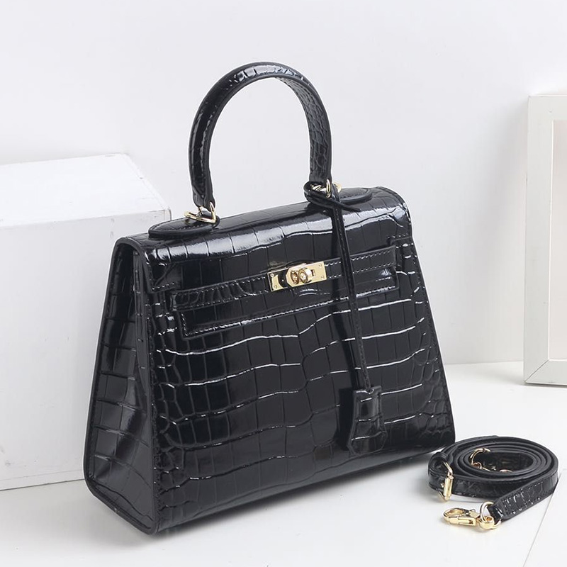 32cm Black Crocodile Pattern Real Leather Tote LH2792L