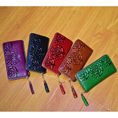 Floral Pattern Real Leather Wallet LH2793_5 Colors