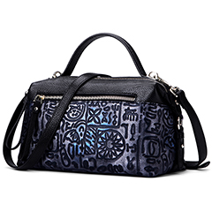 Zipper Real Leather Commuter Monogrammed Satchel Bag LH2856_2 Colors