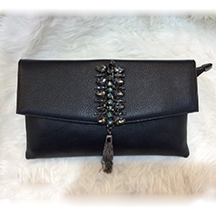 Luxury Rhinestone Tassels Leather Clutch Bag LH2884