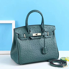 30cm Padlock Ostrich Real Leather Tote Bag Top Handle Bag LH2922M_9 Colors
