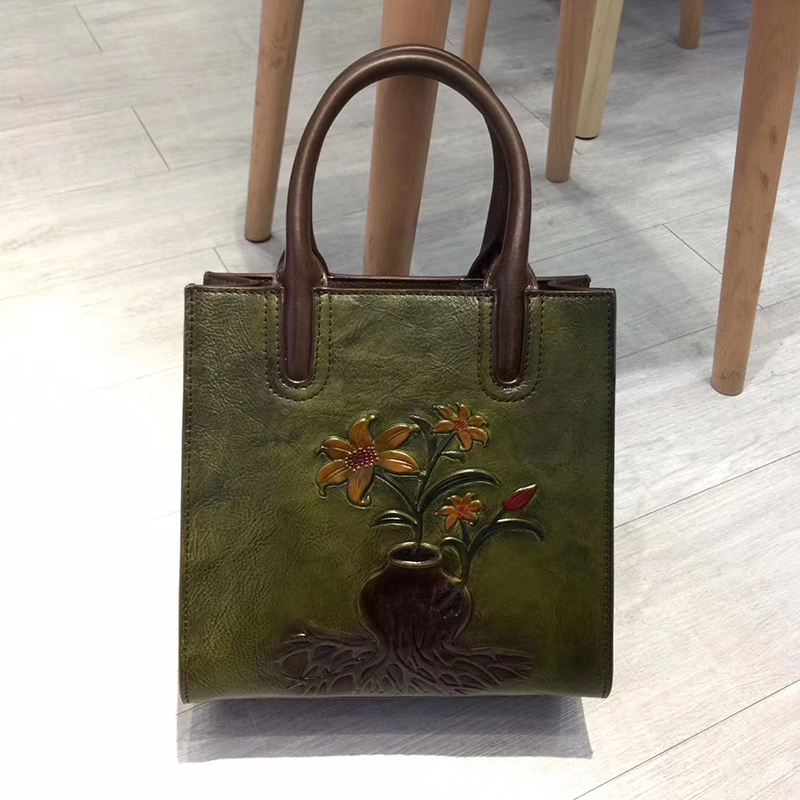 Floral Pattern Real Leather Tote Purse LH2948_3 Colors