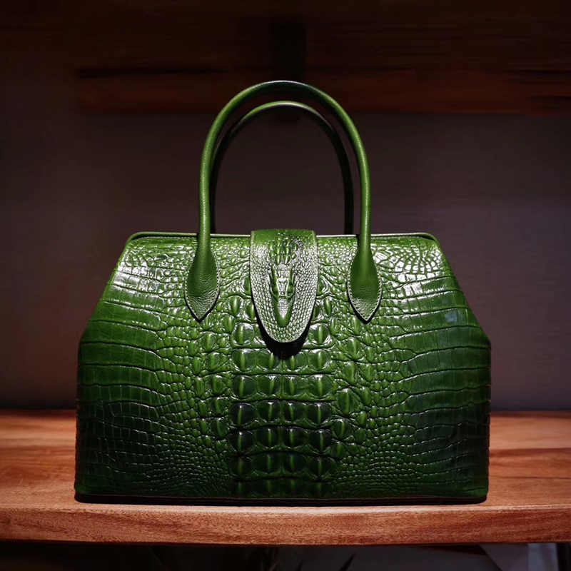 Frame Crocodile Pattern Real Leather Tote Large Size LH2518L_8 Colors