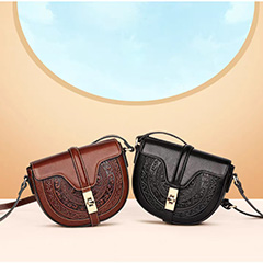 Classic Saddle Leather Cross body Purse 3111_4 Colors